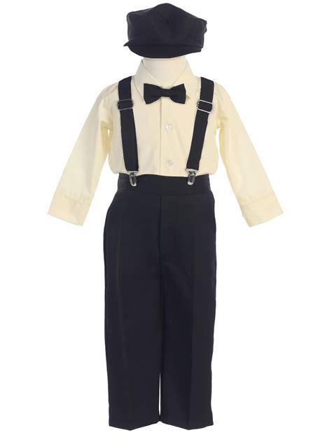 Set Boy W boys black longsleeve suspender pant set w hat