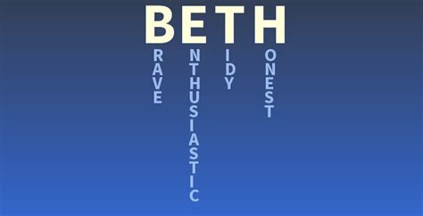 Beths Challenge Do by Your Name Beth What Does Your Name Cool Things