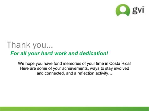 thank you letter for work and dedication gvi quepos end of program presentation 3 aug 2014