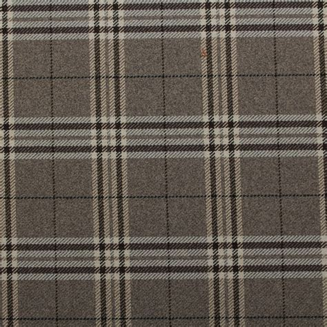 Check Upholstery Fabric by Traditional Tartan Check Soft Twill Cotton Faux Wool