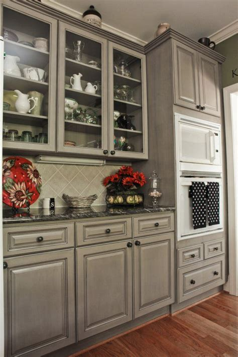 Black Kitchen Cabinets Pinterest Beautiful Gray Cabinets To Compliment The Black Countertops And White Appliances That We