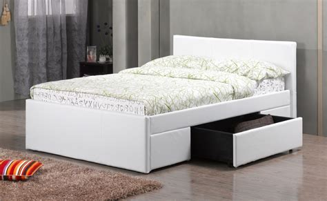 white pu faux leather bed drawers homegenies