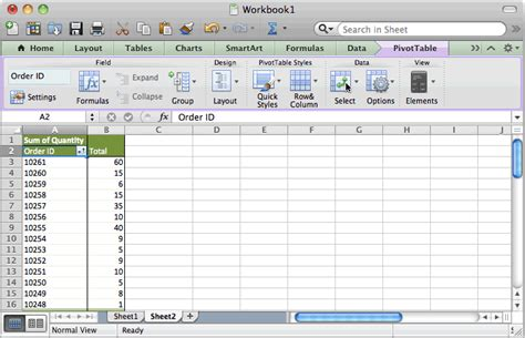 ms excel 2011 for mac sort pivot table results