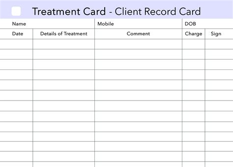client record card template treatment additional client card stationery