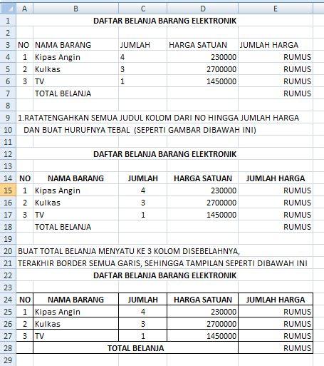cara membuat brosur daftar harga pulsa microsoft office excel 2007 contoh tabel perkalian harga