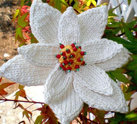 knitted poinsettia pdf knit flower pattern poinsettia knit flower
