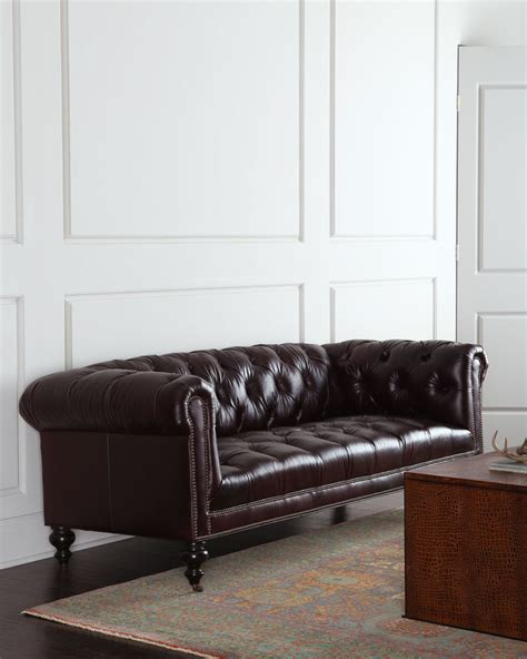 morgan leather sofa old hickory tannery morgan aubergine tufted leather sofa