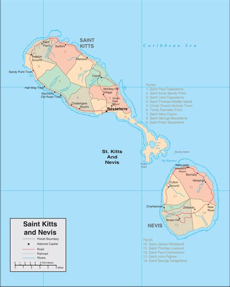 st kitts and nevis map st kitts map detailed map of st kitts and nevis