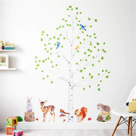 woodland nursery wall stickers animals and tree set by