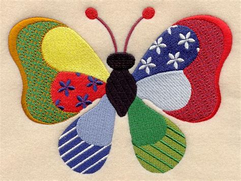 Patchwork Butterfly Pattern - machine embroidery designs at embroidery library