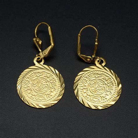 18k gold plated coin earrings muslim islamic jewelry