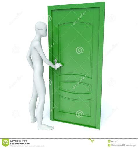 porta verde l uomo 3d apre una porta verde illustrazione di stock