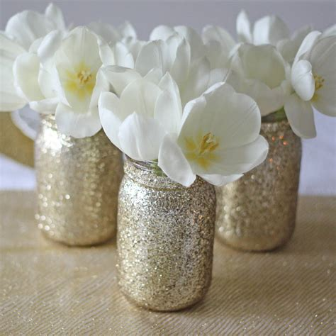 Jar Vases For Wedding by Gold Glitter Jar Vase By The Wedding Of Dreams Notonthehighstreet