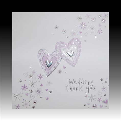 Wedding Gift Thank You Cards - white wedding gift thank you cards with lilac hearts