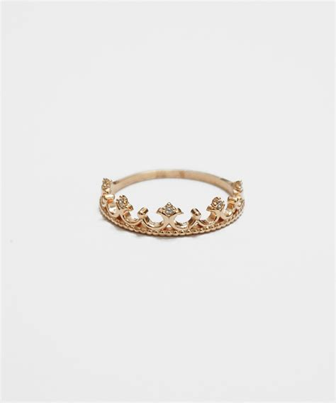 gold princess tiara ring crown cz ring knuckle ring