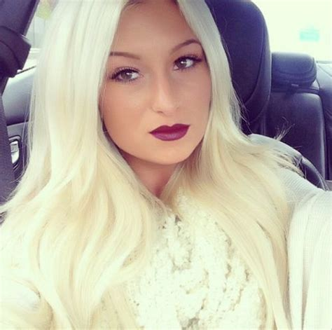 makeover to platinum blonde makeup and hair love the dark purple lips with the
