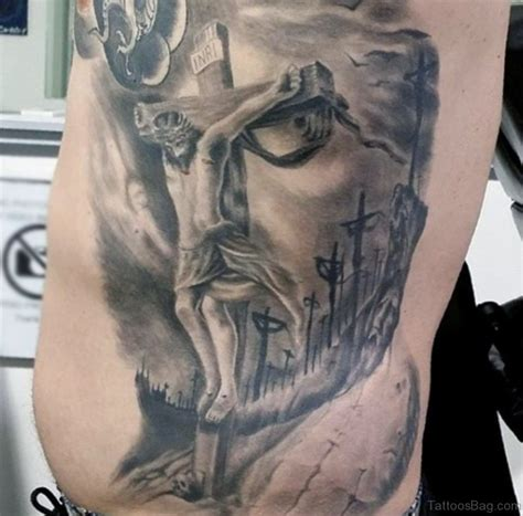 jesus face in cross tattoo 30 best jesus tattoos on rib