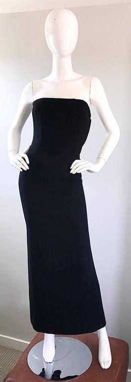 Sale 20172 Black Chiffon Retro 1950s neiman couture black silk chiffon strapless