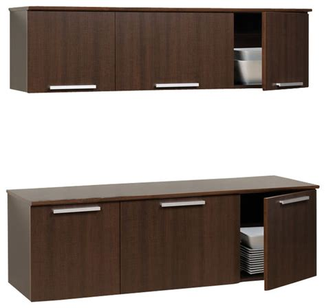 Wall Mounted Kitchen Cabinets | prepac coal harbor espresso wall mounted buffet and hutch