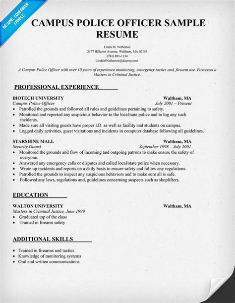 campus police officer resume sample law resumecompanion