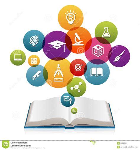 libro the art of instruction libro aperto con le icone di istruzione illustrazione di stock immagine 56845378