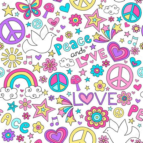 pattern design la peace and love doodles seamless repeat pattern design