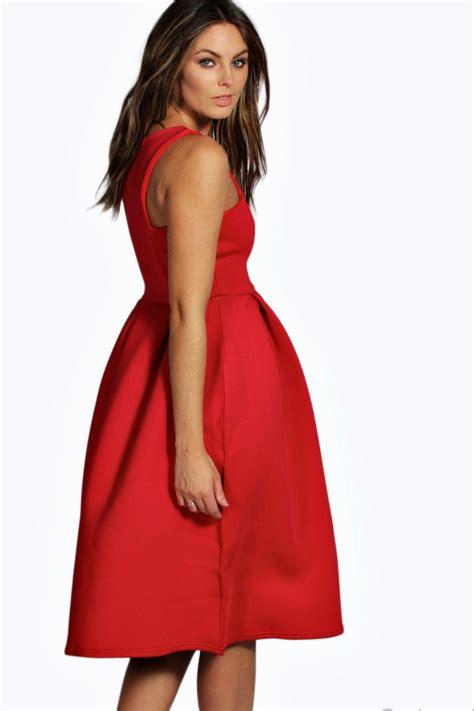 Mididress Scuba Biru 1 boohoo womens may scuba cutaway neckline midi dress