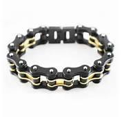 Double Black &amp Gold Bike Chain Bracelet  $4595 Motrcycle Parts
