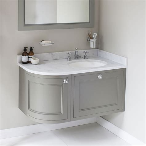 bathroom vanity unit worktops burlington wall hung 100 curved corner vanity unit
