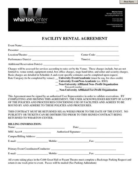 Event Contract Template Invitation Templates Facility Rental Agreement Form