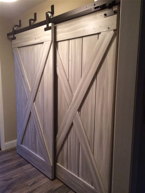 Closet Barn Door Hardware Bypass Sliding Barn Doors In Mudroom Humble Abode Barn Doors Bar And Design