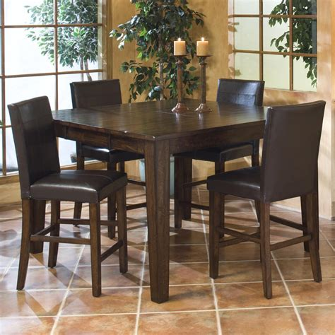 intercon kona gathering table set with parson s barstools
