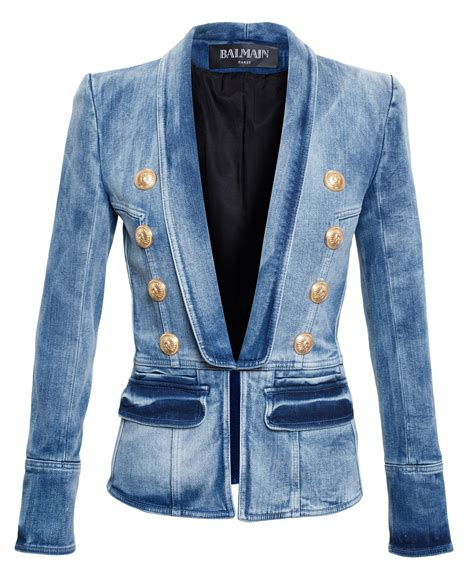Blezer Denim lyst balmain classic denim blazer in blue