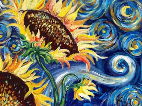 acrylic paint gogh sunflowers tutorial vincent gogh starry