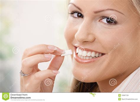 eats gum beautiful chewing gum royalty free stock images image 10087729