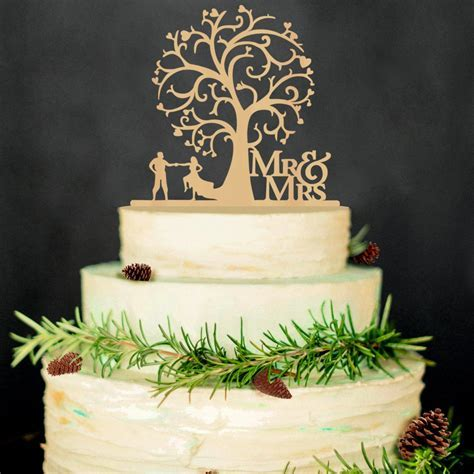 Mr & Mrs Wedding Cake Toppers Wedding Tree Wood Cake