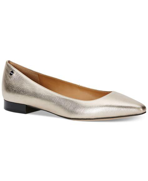 calvin klein shoes flats calvin klein s flats in metallic lyst