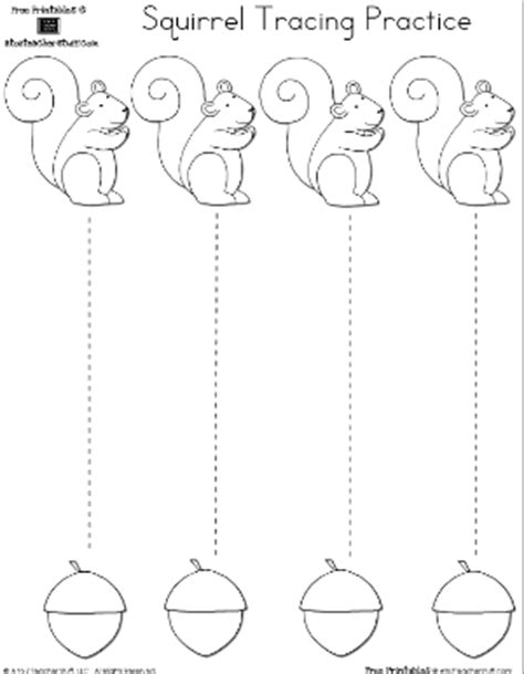 tracing cutting printable worksheets squirrel and acorn tracing or cutting practice a to z