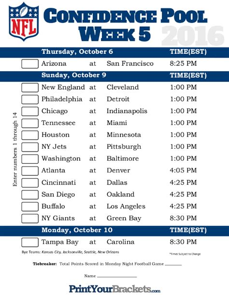 printable nfl schedule week 5 nfl week 5 confidence pool sheet printable