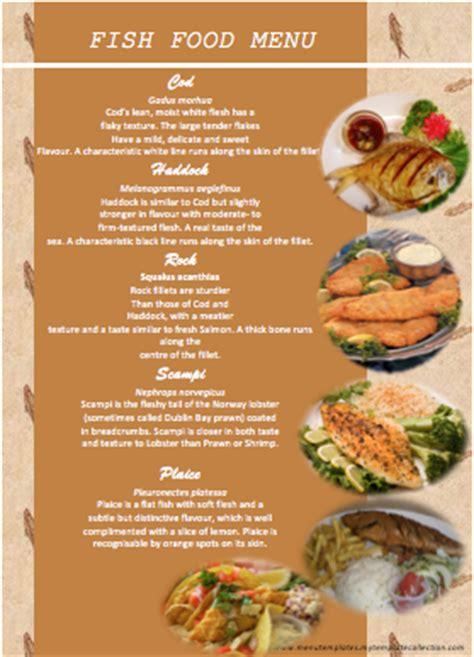 seafood menu template seafood restaurant menu design