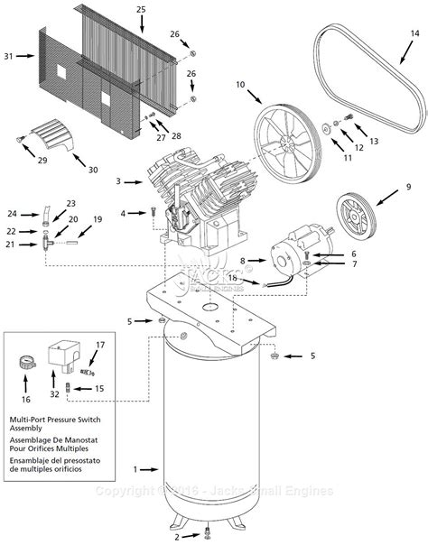 diagram of air compressor cbell hausfeld ciq71080v parts diagram for air