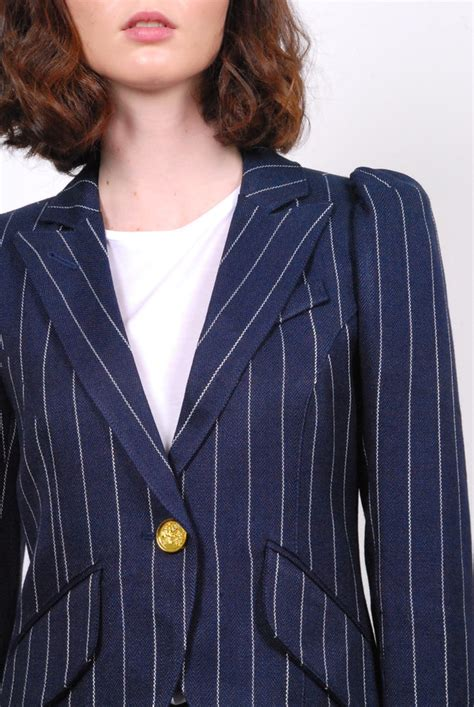 Sleeve One Button Blazer smythe pouf sleeve one button blazer pinstripe garmentory