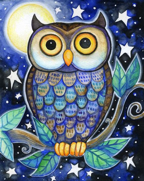 colorful owls owl 8x10 colorful owl moon print print