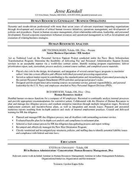 exle human resources analyst resume free sle