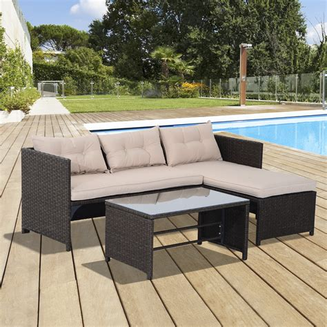 outsunny outdoor furniture outsunny patio furniture set 3pc rattan wicker sofa chaise longue table outdoor aosom ca