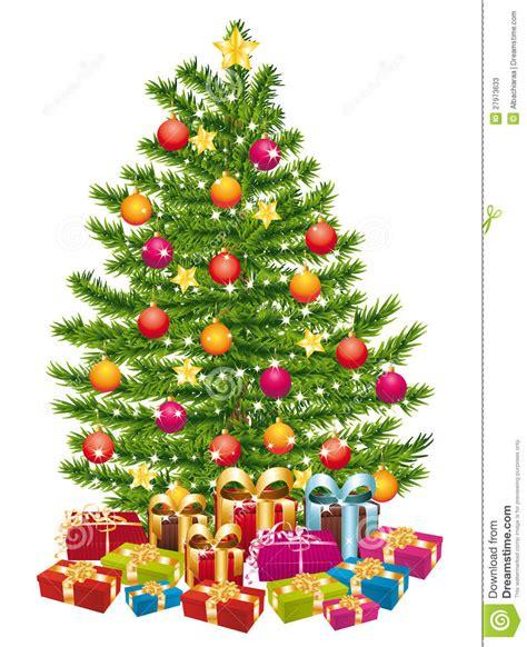 sch 246 ner weihnachtsbaum mit vielen geschenken stockfotos