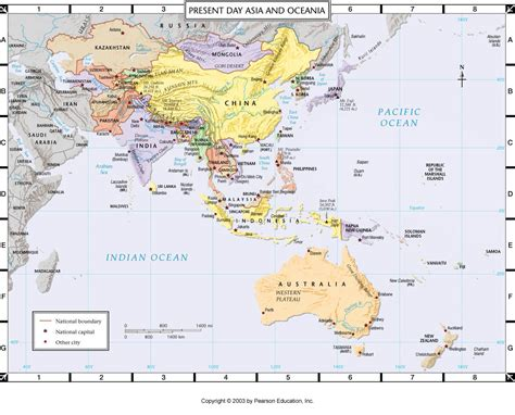 asia oceania map atlas map present day asia and oceania
