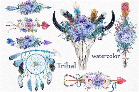 tribal clipart watercolor tribal clipart graphic by lecoqdesign