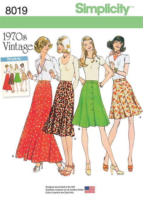 pattern review uk simplicity 8019 misses vintage 1970 s skirts sewing pattern