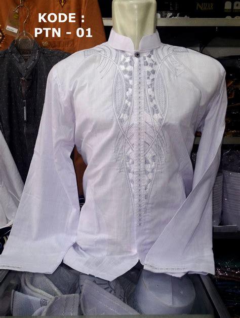 Baju Katun Persib Putih 01 baju koko putih panjang bordir busanamuslimpria